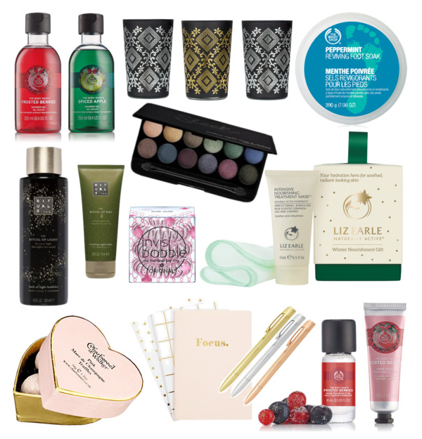 BLOGMAS DAY 20 | Stocking Fillers, The Body Shop, Charbonnel et Walker, Kikki K, Liz Earle, Invisibobble, Rituals, T2 Tea, Sleek, Superdrug, Chocolate, Beauty, Skin Care, Body, Make Up, Stationery, Polyvore, Blog A Book Etc, Fay Simone, Fay