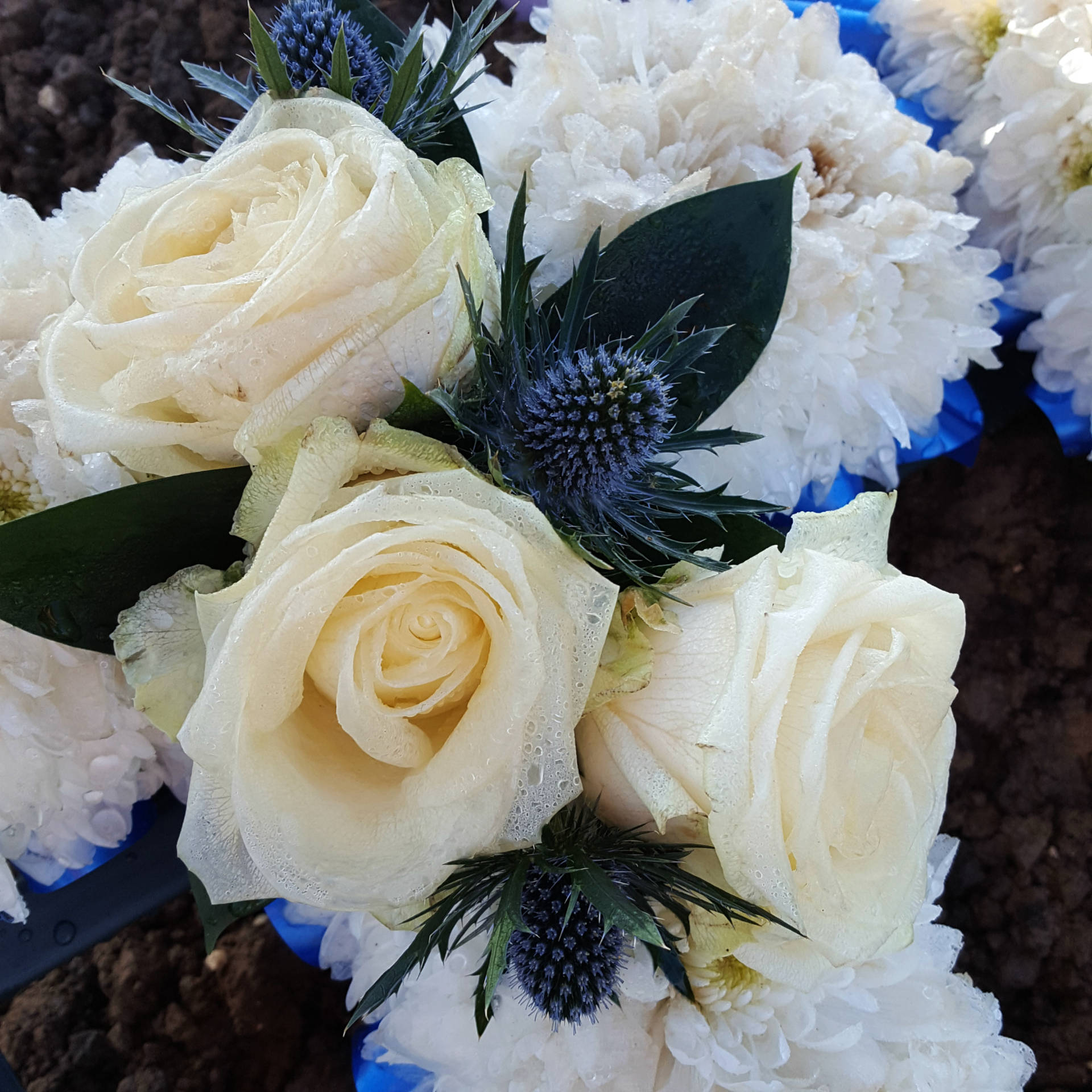 Flowers, Bouquet, Roses, Blue, White, White Roses, Into The Abyss, Funeral, Bereavement, Blog A Book Etc, Fay